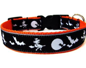 "Halloween Dog Collar 1"" Witches and Bats Dog Collar"