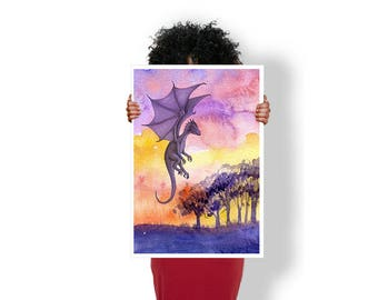 Dragon Forest Bright - Art Print / Poster / Cool Art - Any Size
