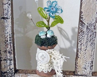 UP-CYCLED - old made new treasure - French beaded flower spool - decor - spring - NO394