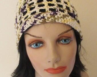 Cotton Beanie, Open Weave Beanie, Spring Accessory, Summer Accessory, Beach Hat, Spring Hat, Summer Beanie, Women's Cotton Hat