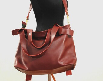 Marsala leather bag Crossbody leather bag Red brown laptop bag Zipper leather bag Tote bag Zipper Shoulder bag