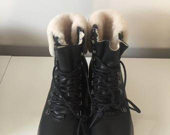 Leather and Faux Shearling Winter Boots
