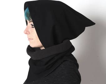 Black hooded scarf, Black cowl with pointy hood, Pixie hooded scarf in black, removable hood, Winter accessories, MALAM