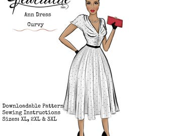 1950s Plus Size Dress- Fit and Flare Dress - Vintage Inspired Sewing Tutorial - Rockabilly Dress - 1950s Style Dress PDF Pattern