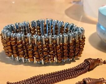 Bronze Safety Pin Bracelet