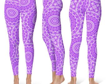 Violet Leggings Yoga Pants, Printed Yoga Tights for Women, Purple and White Mandala Pattern