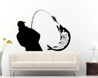 Fishing Fisherman Pike Catching A Fish With A Fishing Poll Wall Decal Vinyl Sticker Mural Room Decor L842
