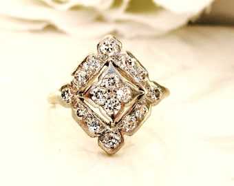 Antique Edwardian Engagement Ring 0.52ctw Old Cut Diamond Unique Deco Starburst Wedding Ring Platinum & Yellow Gold Filigree Engagement Ring