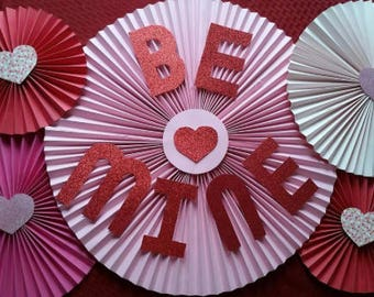 Be Mine Valentines Day Paper Pinwheels Set