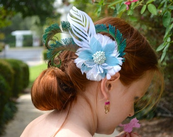White and Teal Peacock Feather Fascinator Comb Pin - Feather Flower Hair Accessory