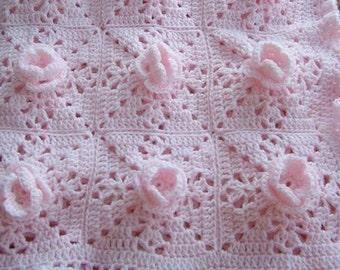 Afghan Crochet Pattern - Pink Roses - Crochet afghan pattern