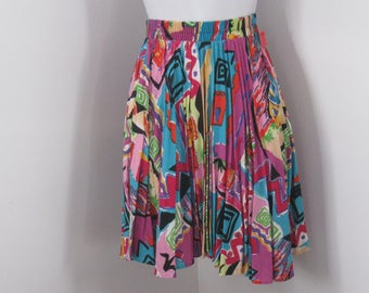 Vintage Skirt Accordion Pleated Skirt Abstract Pattern Skirt size Small