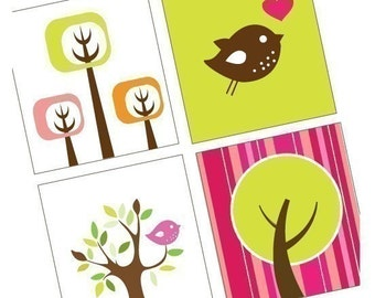 Funky Trees and Birdies - Scrabble Size Printable Images - Buy 2 Get 1 Free - Instant Download - .75x.83 Inch - Digital File - Automatic
