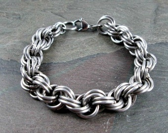 Chainmaille Bracelet - Stainless Steel - Double Spiral - Rope Chain - Chainmail Jewelry - Mens Bracelet - Steel Chain - Chain Bracelet