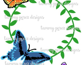Butterfly Monogram SVG DXF File - Digital download for craft cutting