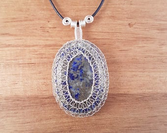 Mr Blue Sky - Blue lapis lazuli wire netted wire wrapped silver handmade gemstone cabochon pendant necklace