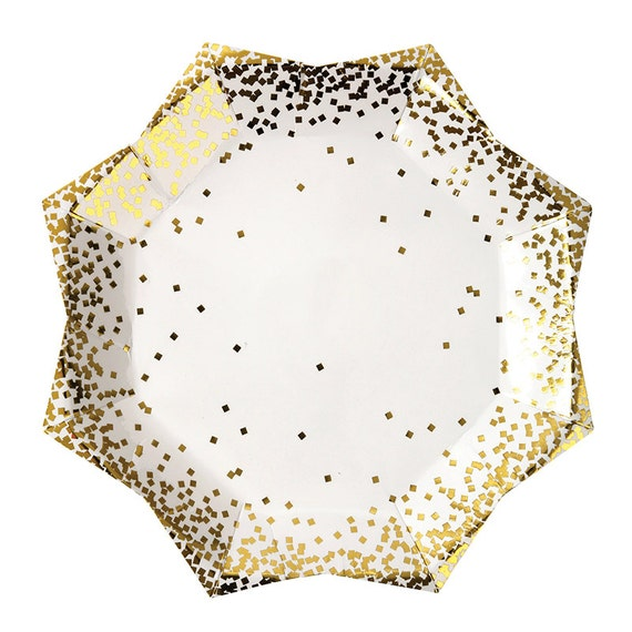 Gold Confetti Large Paper Plates Meri Meri Set of 8 Christmas Plates Gold Party Plates New Years Eve Confetti Party Holiday Tableware from ...  sc 1 st  Etsy Studio : paper christmas plates - pezcame.com