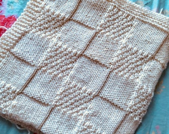 One piece patchwork blanket, Knitting Pattern, PDF, Instant Download