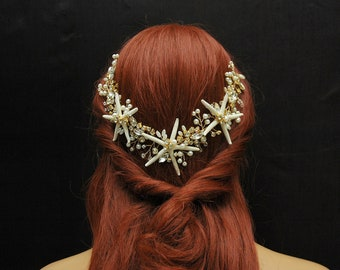 Beach Wedding Headpiece Gold Starfish Hair Vine, Pearl Nautical Hair Piece, Bridal Starfish Crown, Destination Wedding, Mermaid Headpiece