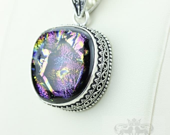 Dichroic Glass Vintage Filigree Setting 925 S0LID Sterling Silver Pendant + 4mm Snake Chain p2900
