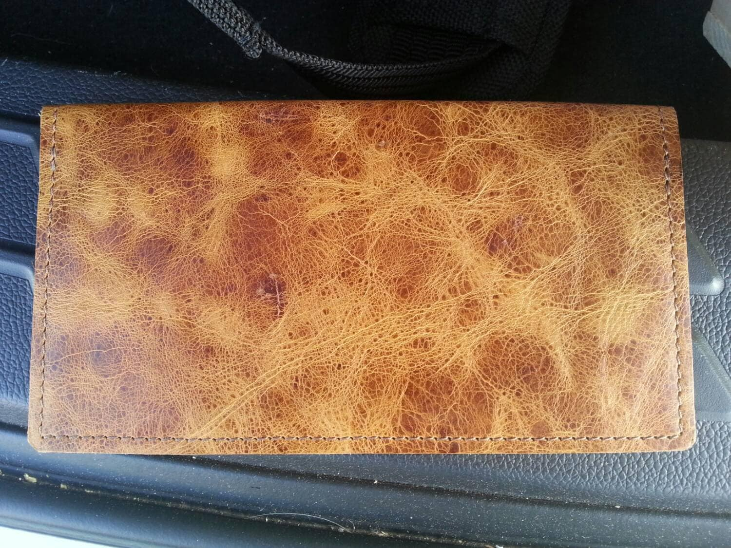 real leather checkbook cover    the only part that isn u0026 39 t leather is the plastic card  picture