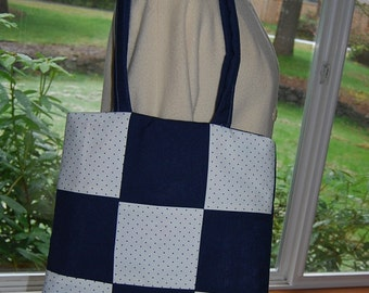 White and Navy w\/ Polka Dots Linen Bag, w\/ Fused Plastic