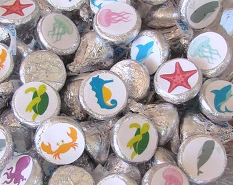 Ocean Birthday, Candy Stickers - Chocolate, Kiss, Candy Labels - Sea Creatures, Party Favors, Printed