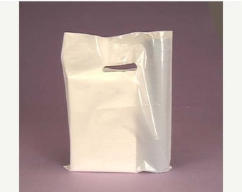 TAX SEASON Stock up 50 Pack White Handled 9 X 12 inch Plastic Merchandise Bags