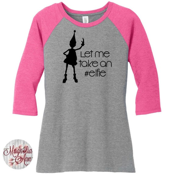 Let Me Take An Elfie, Christmas, Womens Baseball Raglan 3/4 Sleeve Top in 5 colors, Sizes Small-4X, Plus Size, Plus Size Clothing