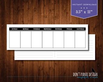 Printable Weekly Planner - Eternal Calendar - Modern Black Daily Calendar - Instant Download