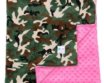 Camo on Hot Pink Double Minky Baby Blanket, Custom Blanket, Baby Camo Blanket, Camo Minky Blanket, Camo Baby Blanket, Camo Swaddle Blanket