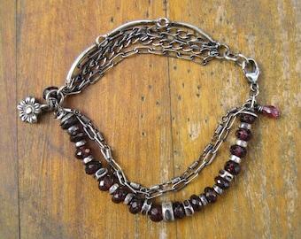 Garnet and Sterling Silver Bracelet - Chain - Modern - Charm