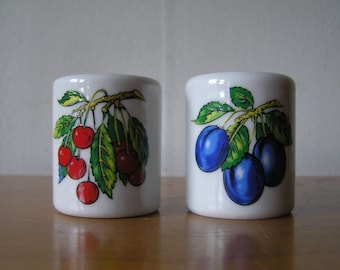 Small Cylinder Fruit Tree Candleholders Made in West Germany