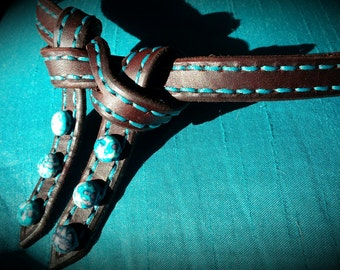 futurity knot browband handstitched turquoise mahogany front belt for your bridle