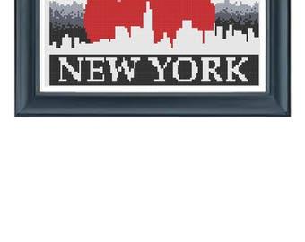 PDF Cross Stitch Pattern, New York Cross Stitch Pattern, New York Embroidery, Big Apple Cross Stitch