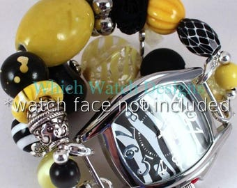Bumblebee.. Darling Yellow, Black and White Interchangeable Watch Band