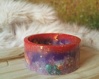 Magenta and Violet Resin Cuff Bangle