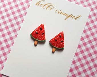 LOLLIPOP Watermelon lolly earrings kawaii