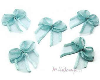 Set of 5 blue organza embellishments scrapbooking bows *.