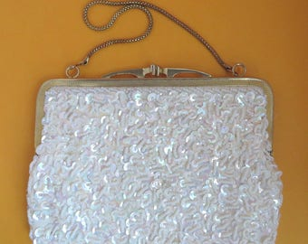 Vintage White Beaded Purse - Faux Pearls & Sequins, British Hong Kong Chain Handled Evening Bag, Disco Handbag, Gift for Her