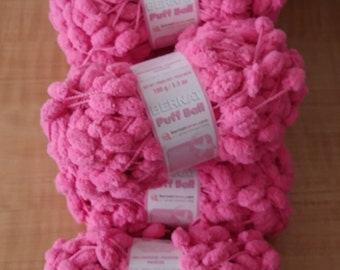 Bernat Puff Ball yarn in Breast Cancer Pink - 9 skeins available