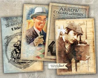 Vintage MEN - digital collage sheet - set of 6 - Printable Download