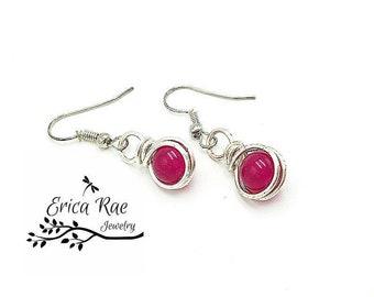 Rose pink Jade earrings, rose pink earrings, gemstone earrings, dangle earrings, silver earrings, wire wrap earrings, beaded earrings