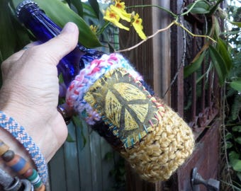 Hippie Festival, beer cooler, can cooler, bottle cooler, Beer cozy, Cheers, E89, Hippie peace, hippie crochet, boho beer, crochet beer