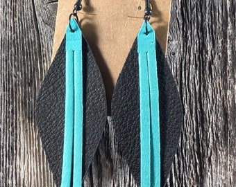 Layered Black and Turquoise Fringe Leather Earrings