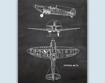 Airplane Art, Aviation Wall Art, Airplane Decor, Pilot Gift, Airplane Poster, Chalkboard Print, Aviation Gifts, Spitfire MK 1A