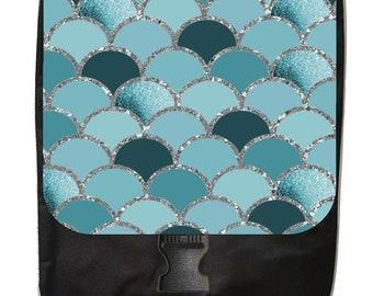Pastel Blue Scallops Print Design - Large Black School Backpack