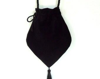 Black Velvet Victorian Style  Drawstring Bag Black Velvet Bag  Evening Bag  Tasseled Bag  Steampunk Bag