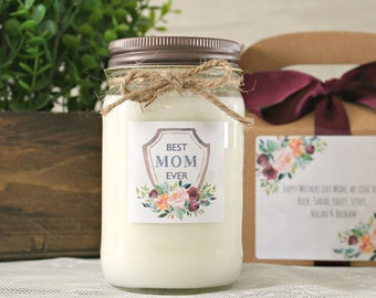 Best Mom Ever Gift / Mother's Day Candle Gift  / Personalized Gift For Mom / 16 oz Soy Candle with box / Floral Gift For Mom