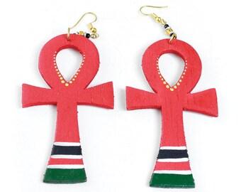 Wooden Afro American Ankh Earrings
